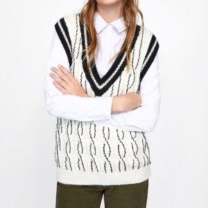 ZARA Oversize Beaded Cable Knit Sweater Vest L NEW